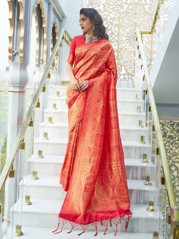 Silk Traditional Saree in Red Colour.