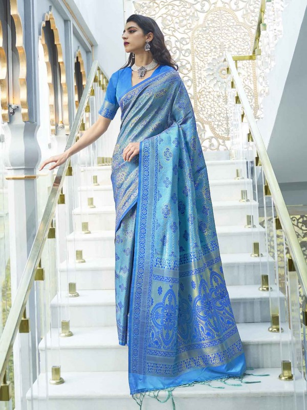 Blue Colour Silk Saree.