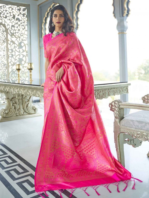 Pink Colour Silk Women Saree.