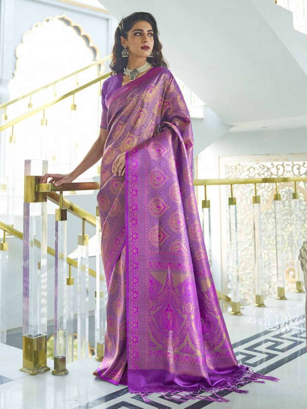 Purple Colour Silk Handloom Weaving Saree.