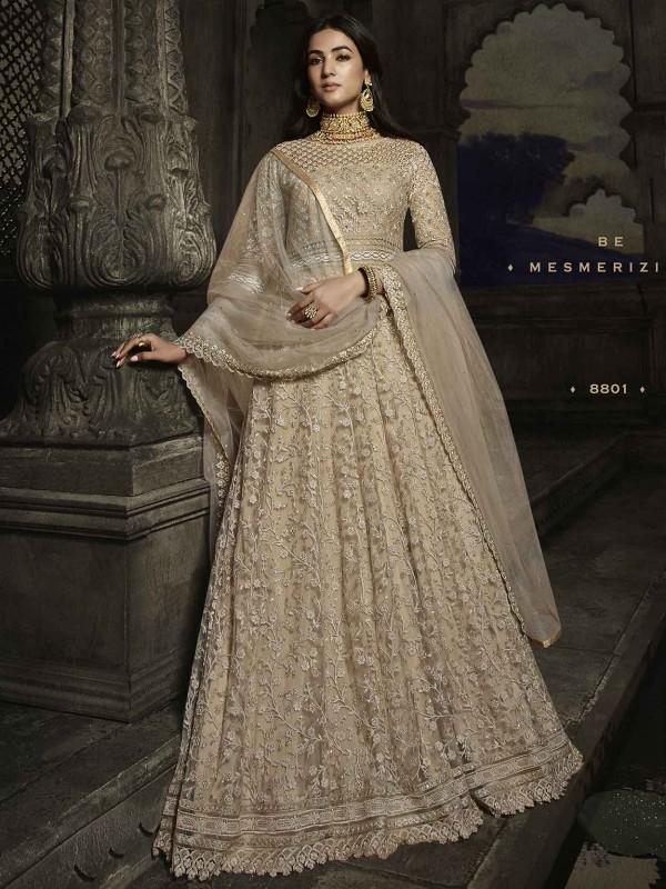 Beige,Golden Colour Net Fabric Anarkali Salwar Suit.