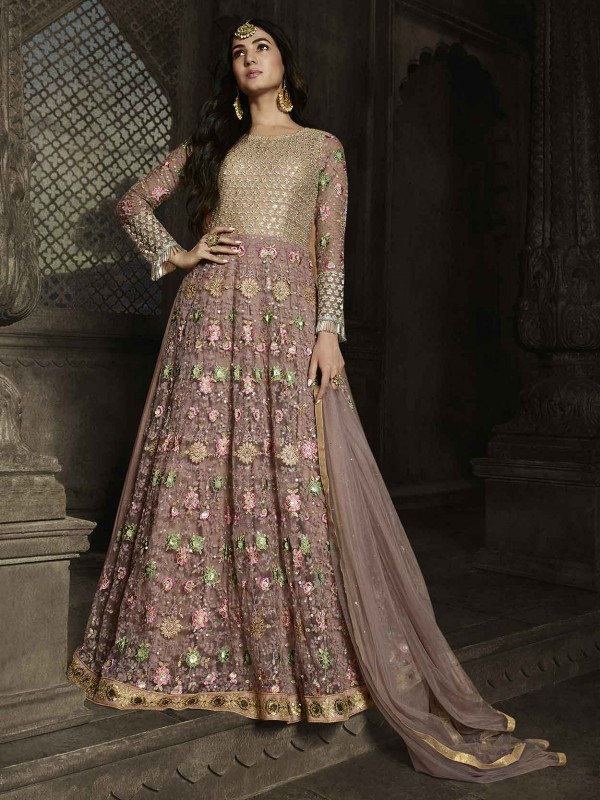 Pink Colour Party Wear Salwar Suit in Net Fabric.