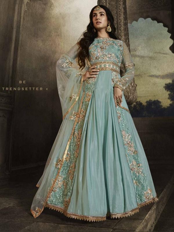 Turquoise Colour Net,Georgette Salwar Kameez.