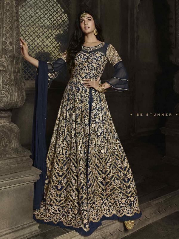 Blue,Golden Colour Party Wear Salwar Suit in Net Fabric.