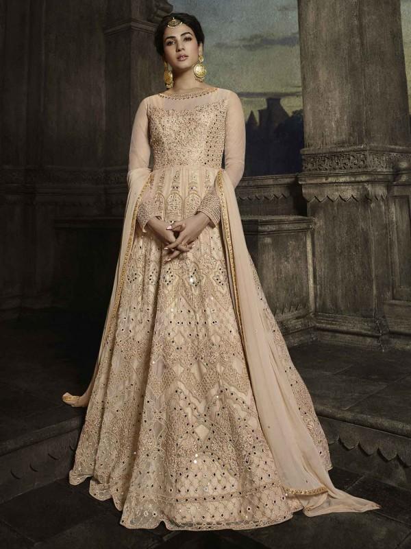 Beige,Golden Colour Designer Anarkali Salwar Suit.