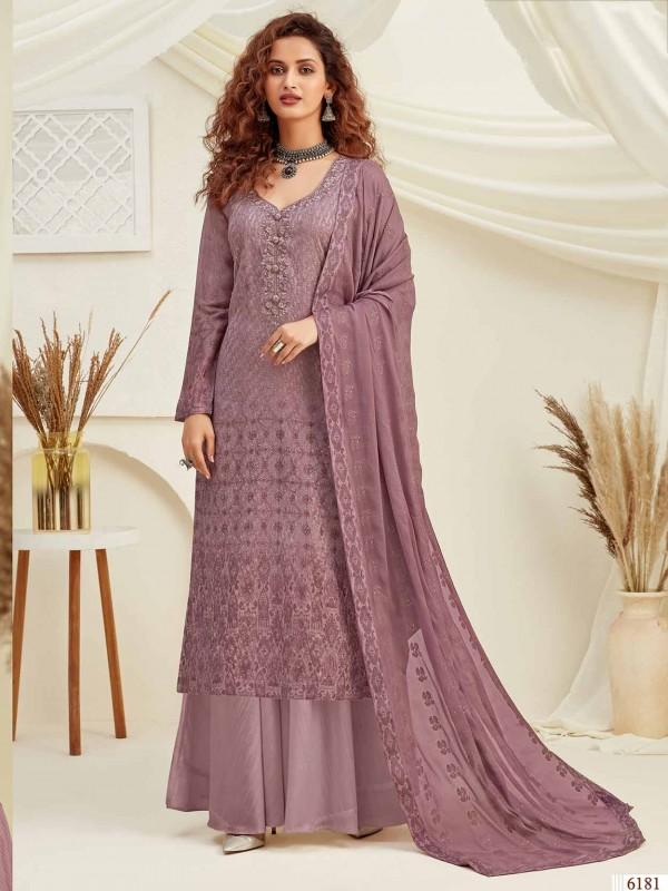 Purple Colour Chiffon Palazzo Salwar Suit.