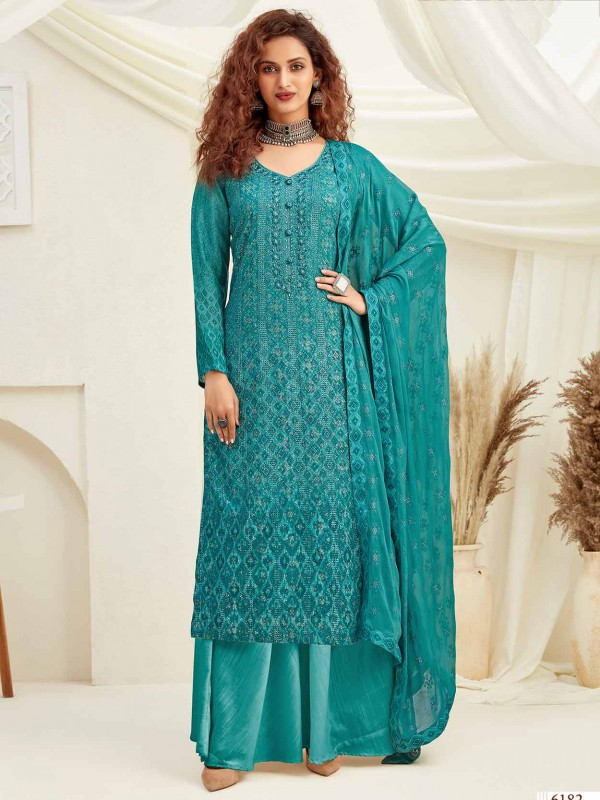Chiffon Salwar Suit in Rama Green Colour.