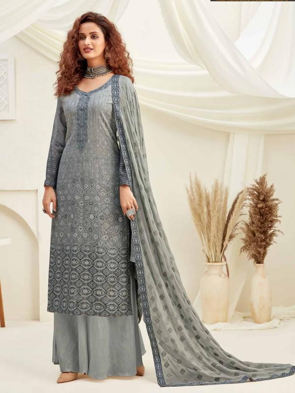 Grey Colour Chiffon Salwar Suit.