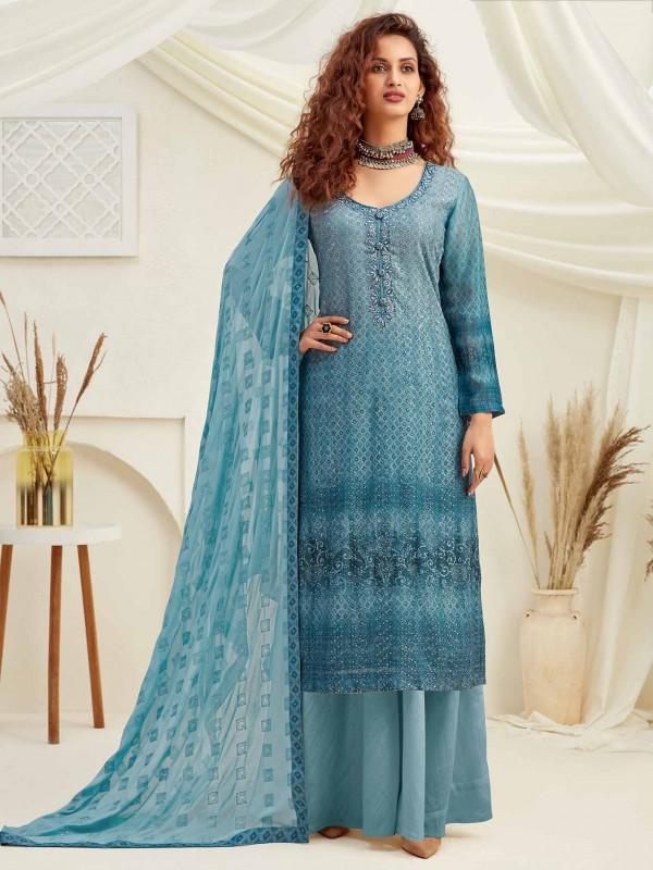 Chiffon Salwar Kameez in Blue Colour.