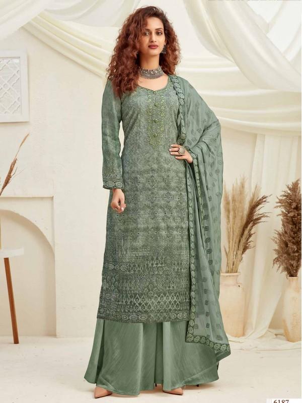 Green Colour Women Palazzo Salwar Suit.