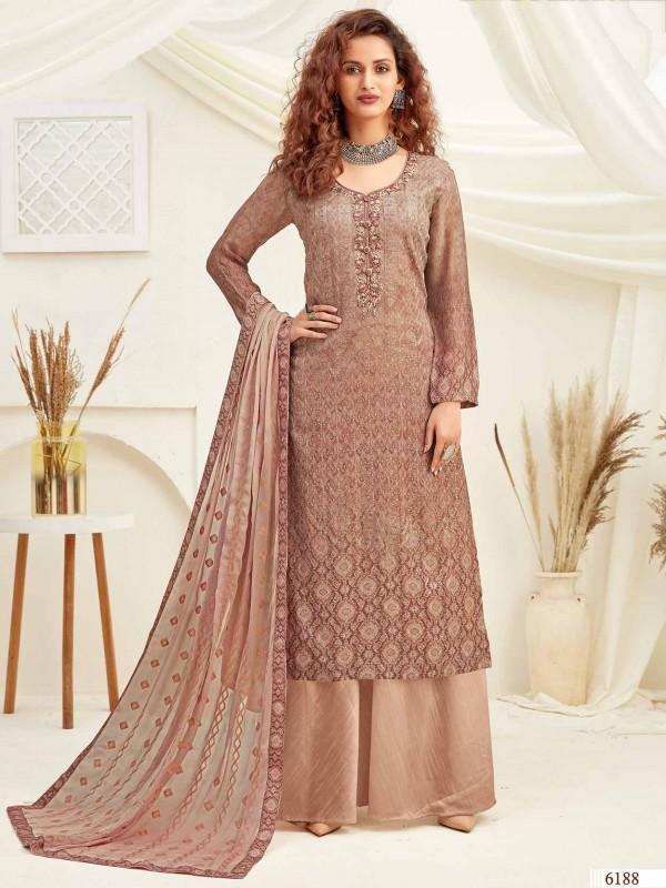 Peach Chiffon Salwar Suit in Thread Work.
