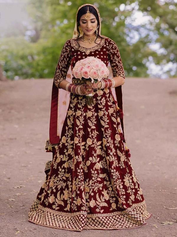 Maroon Colour Velvet Fabric Designer Bridal Salwar Suit.