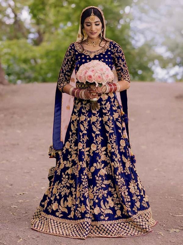 Royal Blue Colour Velvet Salwar Kameez.