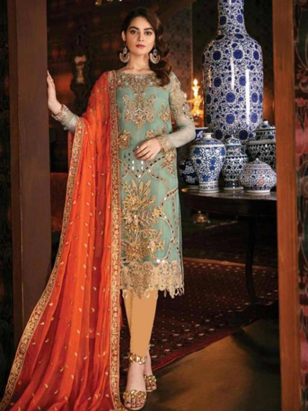 Light Green,Golden Colour Designer Salwar Suit.