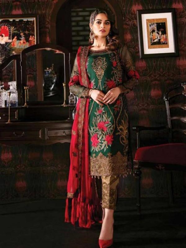 Dark Green Colour Georgette Party Wear Salwar Suit.