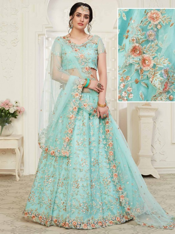 Blue Colour Net,Banglori Silk Fabric Lehenga Choli.