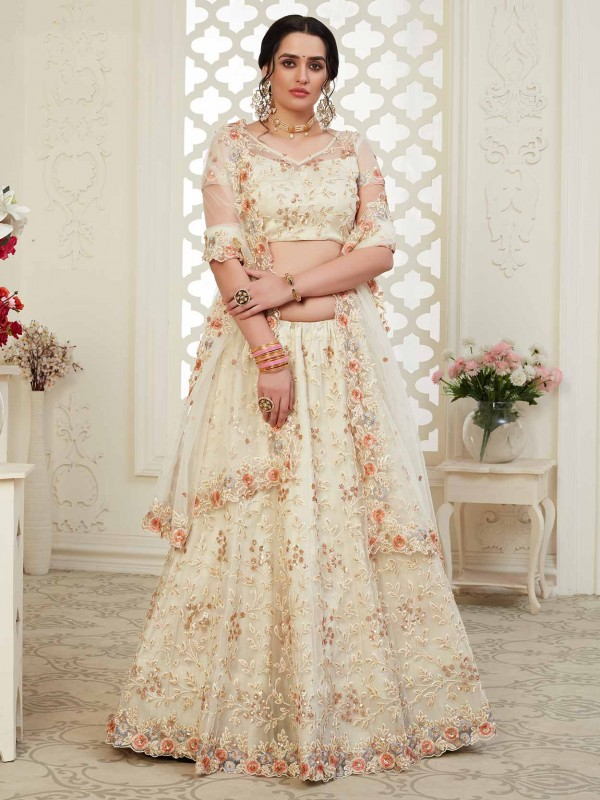 Net,Banglori Silk Fabric Designer Lehenga Choli in Off White Colour.