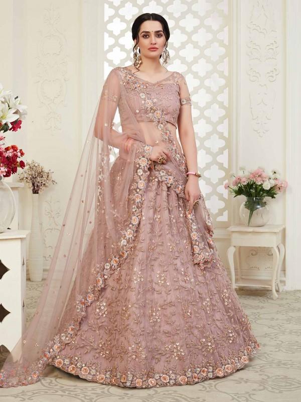 Baby Pink Colour Wedding Lehenga Choli in Net,Banglori Silk Fabric.