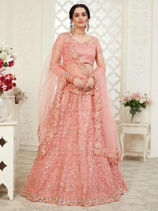 Peach,Pink Colour Designer Lehenga Choli.