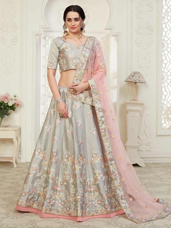 Grey Colour Net,Shantoon Fabric Women Lehenga Choli.