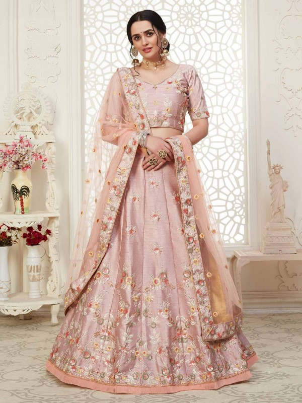 Pink Colour Party Wear Lehenga Choli in Net,Shantoon Fabric.