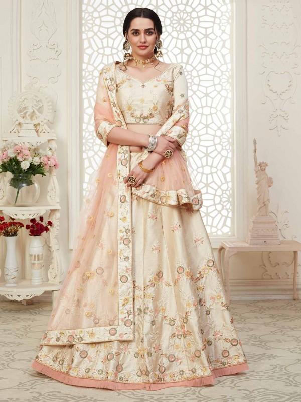 Cream Colour Embroidery Lehenga Choli.