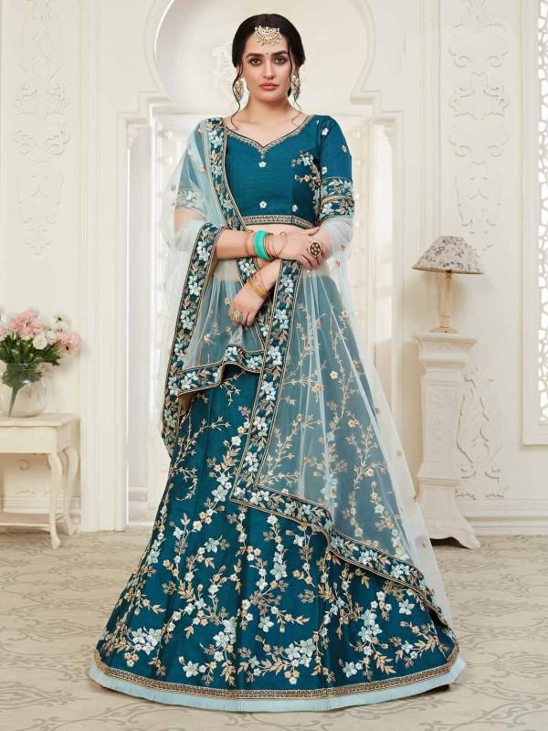 Net,Shantoon Fabric Lehenga Choli in Blue Colour.