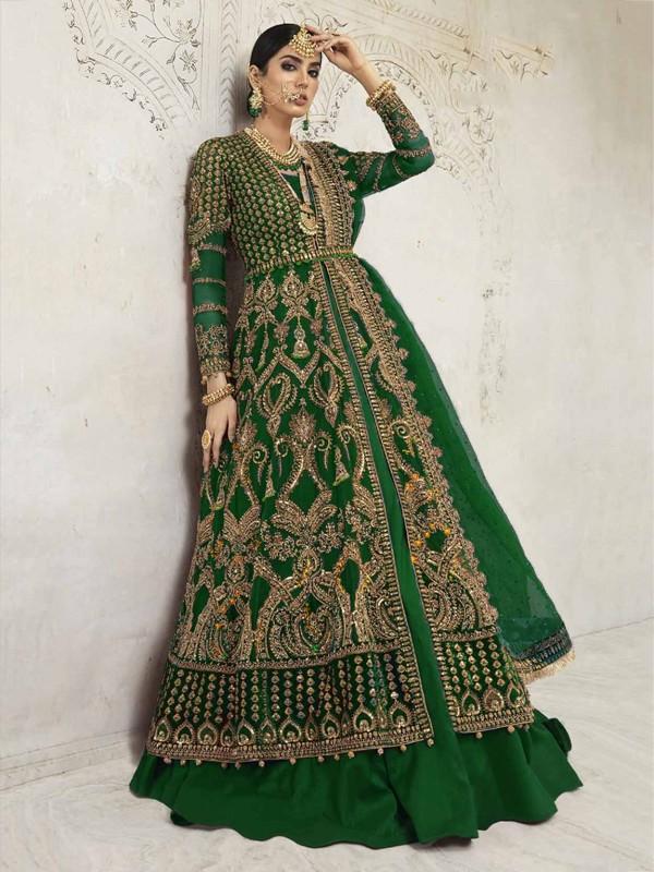 Green Colour Designer Salwar Kameez in Net,Shantoon Fabric.