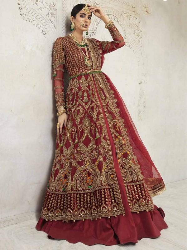 Net,Shantoon Fabric Party Wear Salwar Kameez in Maroon Colour.