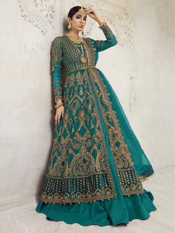 Rama Green Colour Women Salwar Kameez in Net,Shantoon Fabric.