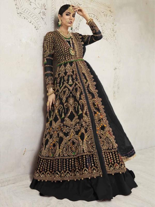 Black Party Wear Anarkali Salwar Suit in Net,Shantoon Fabric.