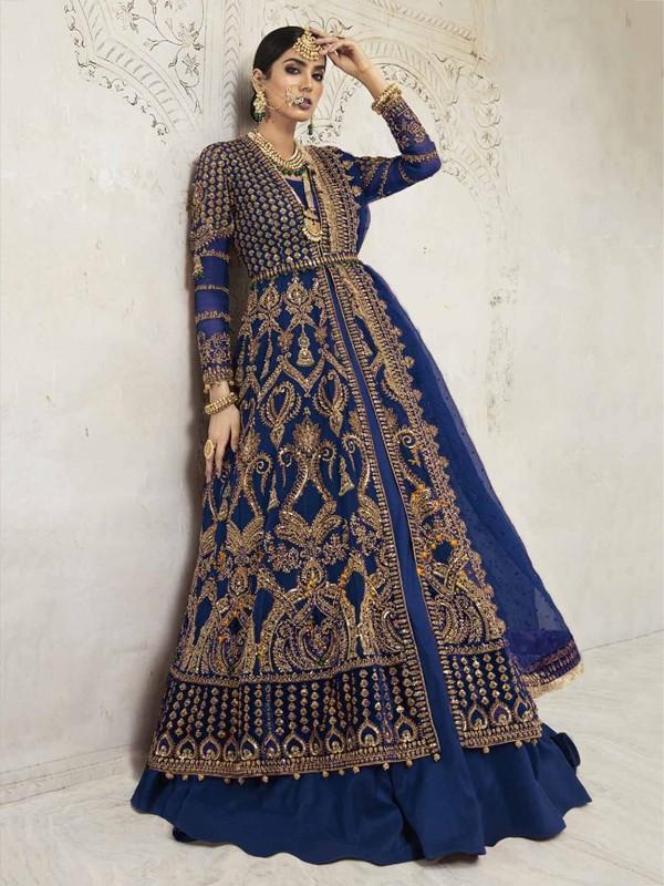 Blue Colour Net,Shantoon Fabric Women Salwar Suit.