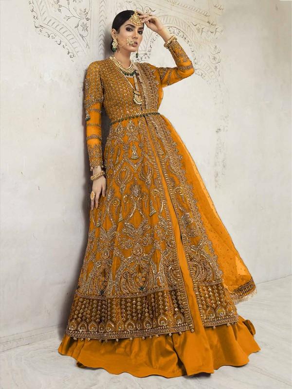Anarkali Salwar Kameez Yellow Colour.