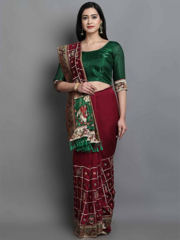 Silk Designer Saree in Maroon Colour.