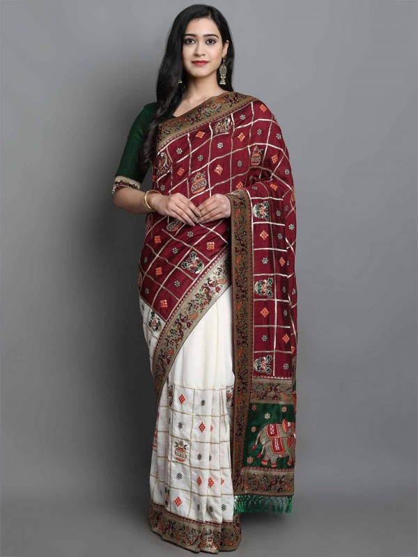 Off White,Maroon Colour Silk Saree.