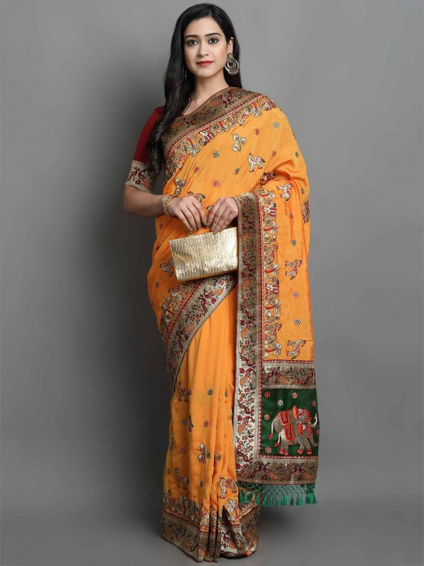 Silk Traditional Saree in Orange Colour.