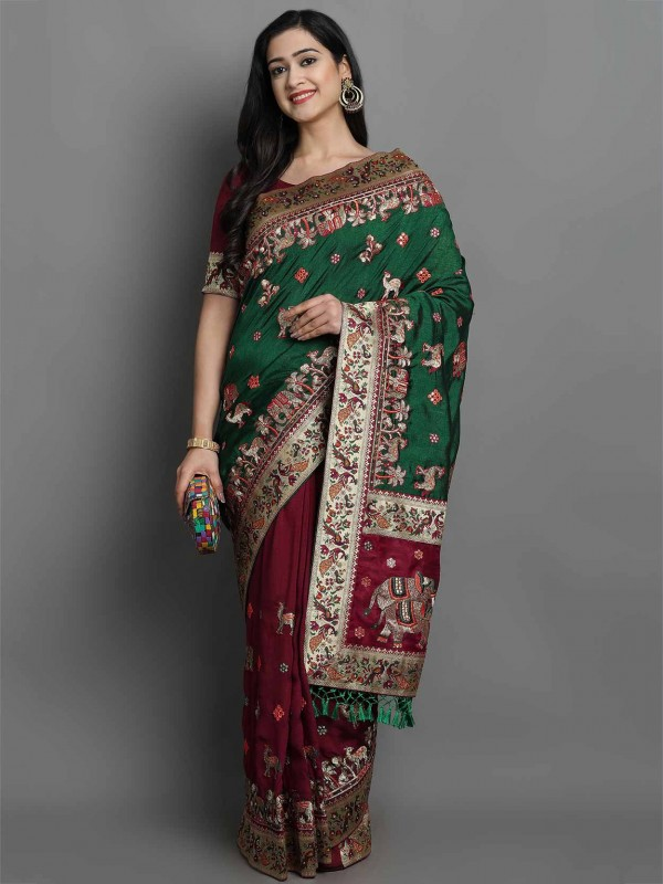 Maroon,Green Colour Silk Designer Saree.