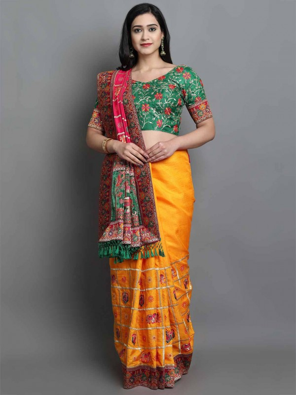 Yellow In Silk Women Saree.