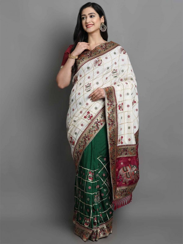 Silk Women Saree in Off White,Green Colour.