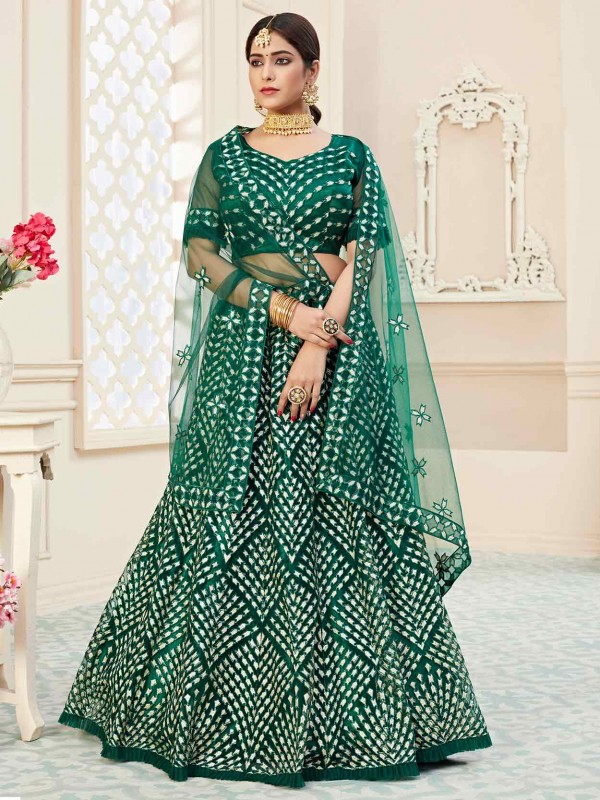 Green Net Designer Lehenga Choli With Thread,Embroidery Work.