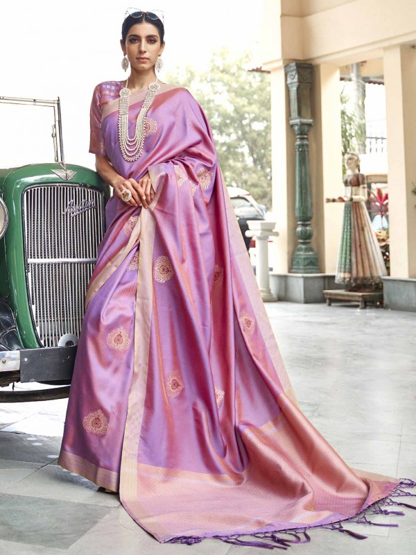 Purple Colour Banarasi Silk Women Saree.