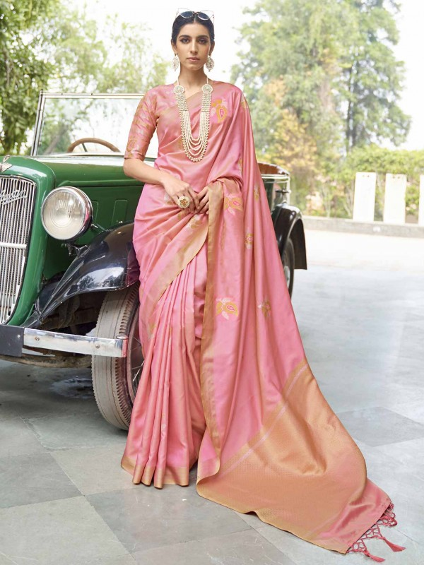 Pink Colour Indian Designer Banarasi Silk Saree.