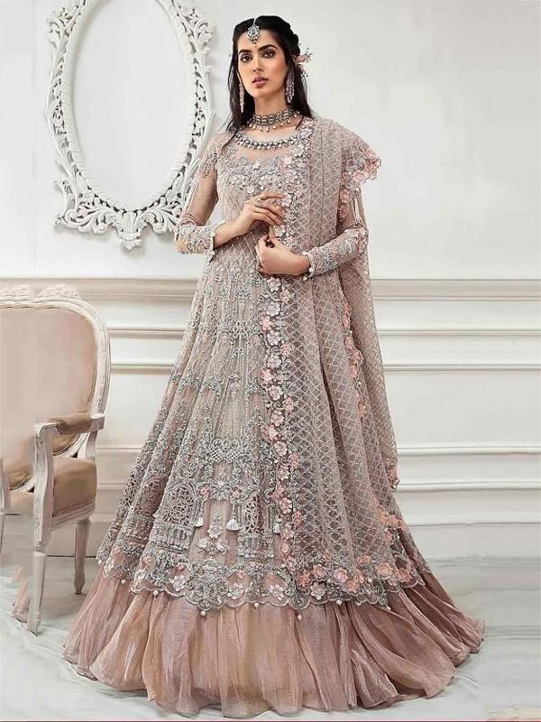 Rust Colour Net Designer Salwar Suit.