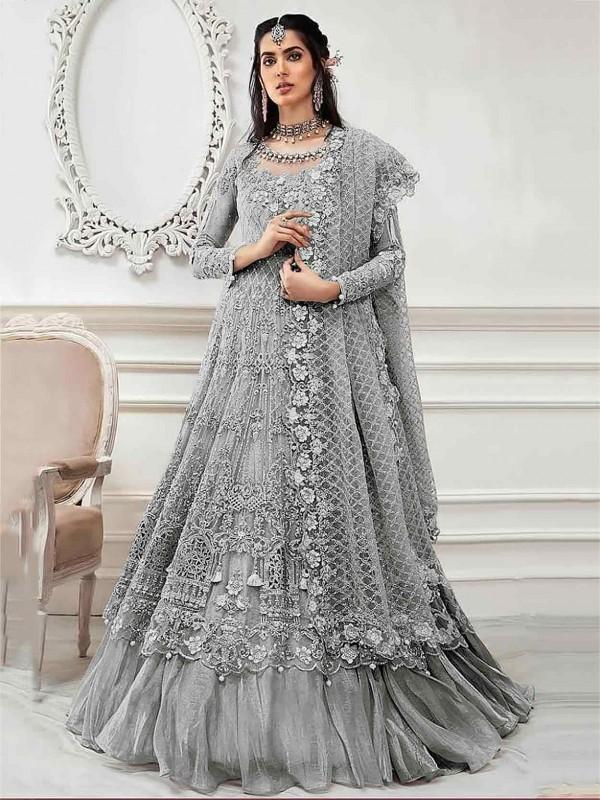 Grey Net Party Wear Salwar Suit.