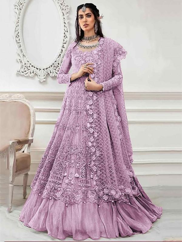 Net Designer Salwar Kameez in Purple Colour.