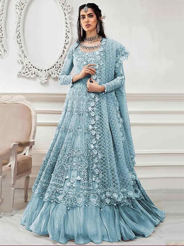 Sea Blue Colour Net Designer Salwar Kameez.