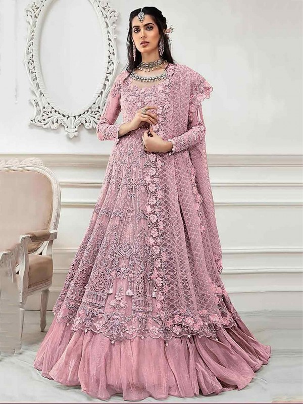 Pink Colour Embroidery Salwar Suit in Net Fabric.