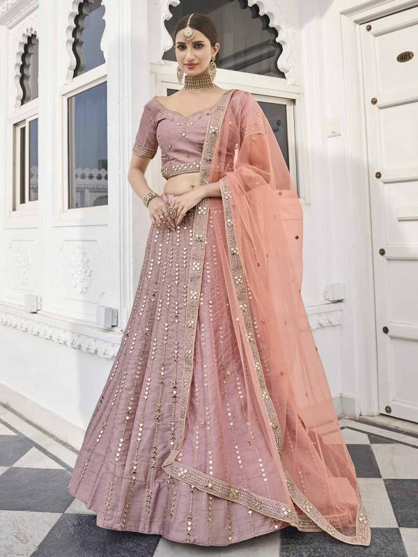 Rose Pink Colour Silk Designer Lehenga Choli.
