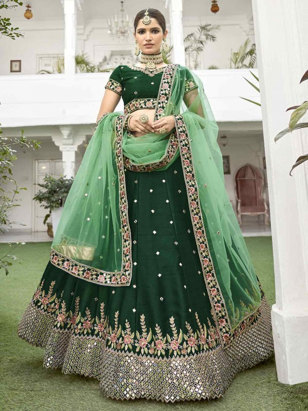 Green in Silk Heavy Designer Lehenga Choli.