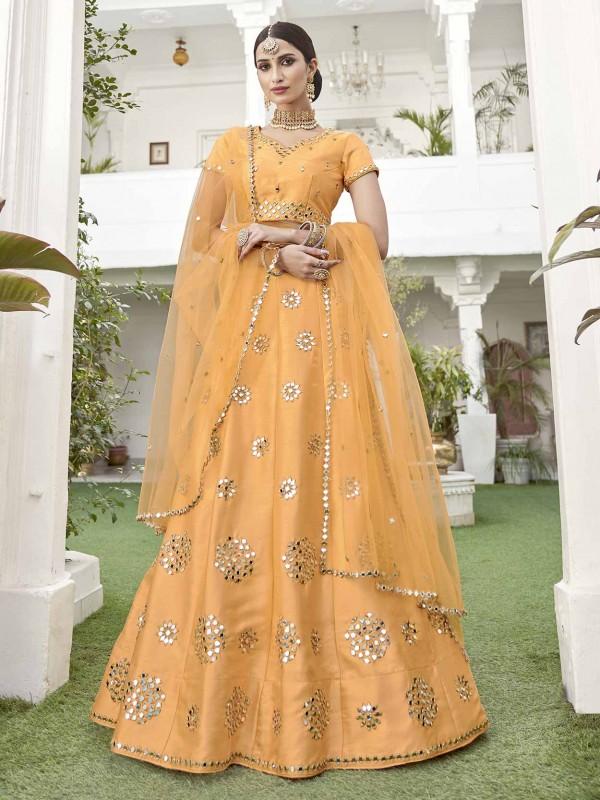 Yellow Colour Silk Women Lehenga Choli.
